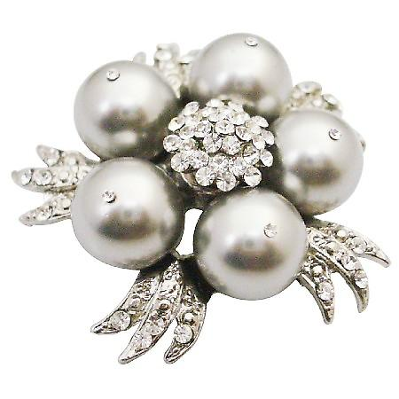 Wedding Cake Brooch Swarovski Lite Gray Pearls Dress Brooch