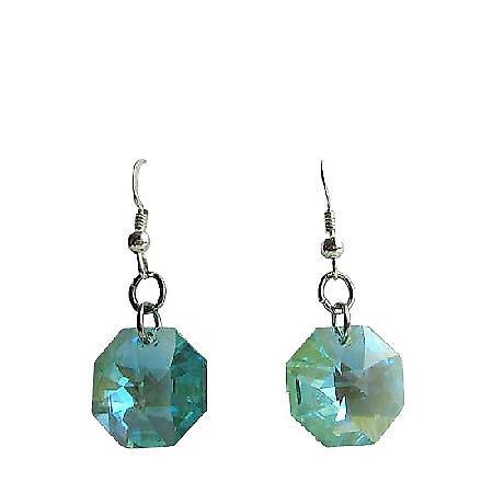 Octagon Crystal Swarovski Aquamarine Multifaceted Bead Silver Earrings