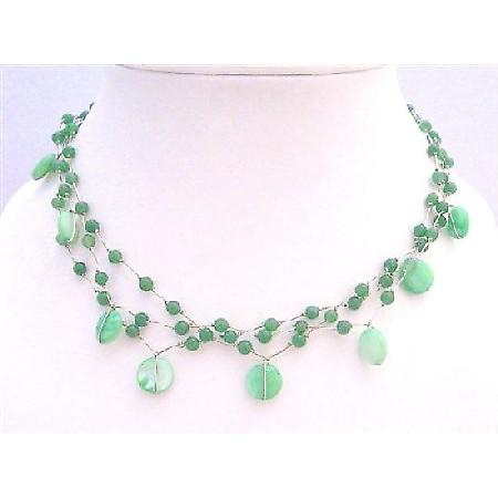 Beautiful Jade Necklace Green Shell Green Fancy Beads Choker Necklace