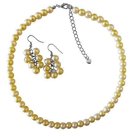 Summerish Jewelry New Pearl Color Daffodill Pearls Necklace Set Under $10 Necklace Set