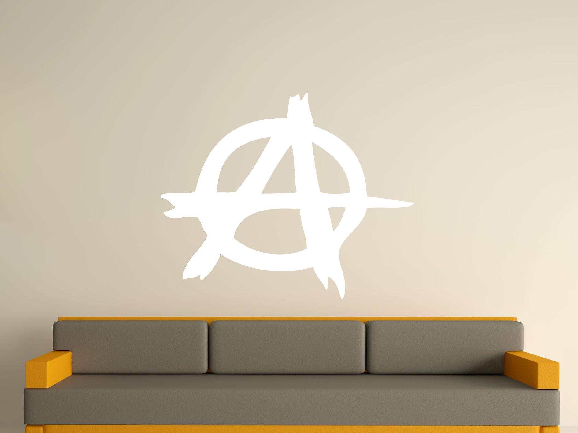 Anarchy Symbol Wall Art Sticker - White