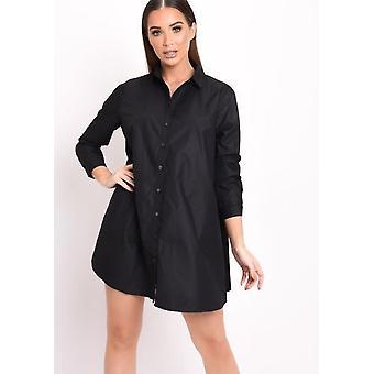 Langarm-Button-Down-Flare Shirt Kleid schwarz