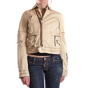 Dsquared2 Beige Leather Outerwear Jacket