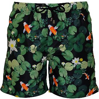 Franks Yallingup Koi Print Swim Shorts, Green/Black