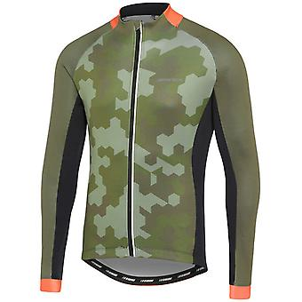 Madison Hex Camo-Dark Olive-Red Sportive Thermal Long Sleeved Cycling Jersey