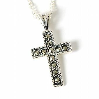 Toc Sterling Silver Marcasite Small Cross Pendant on 18 Inch Chain
