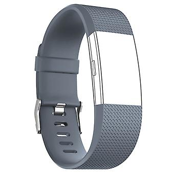 FitBit Strap Charge 2 Sport Silicone Clasp Gray Buckle