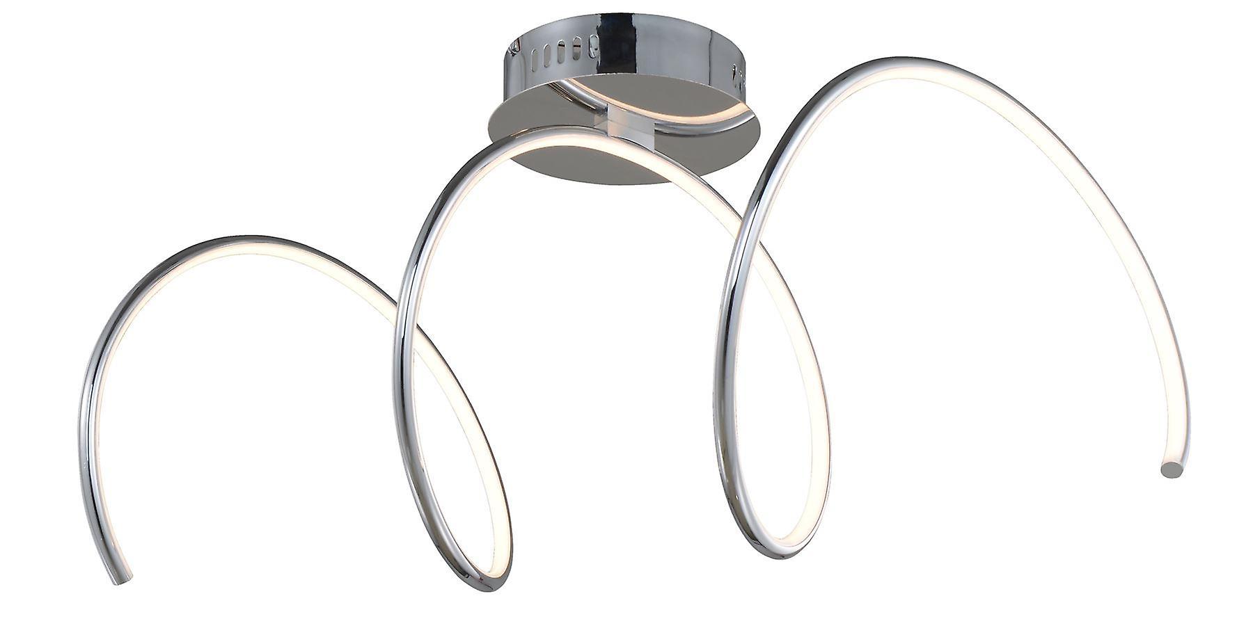 Wofi Unique - Dimmable LED 1 Light Flush Plafond Lumière Chrome - 9077.01.01.6000