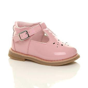 Ajvani meninas crianças infantil criança de salto baixo de couro t-bar flexível sapatos de festa