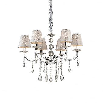 Ideal Lux Pantheon 6 Bulb Pendant Light Argento