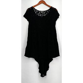 Kate Mallory Top Short Sleeve Lace Top Button Closure Back Det Black A425525