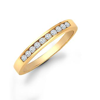 Jewelco London Ladies Solid 9ct Yellow Gold Channel Set Round H I1 0.25ct Diamond Dainty Band Eternity Ring 3mm