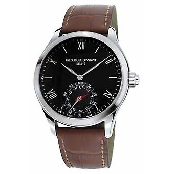 Frederique Constant Horological Smartwatch Black Dial Brown Leather Sapphire FC-285B5B6 Watch