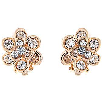 Klipp på örhängen Store guld & Clear Crystal Daisy blomman Clip On örhängen