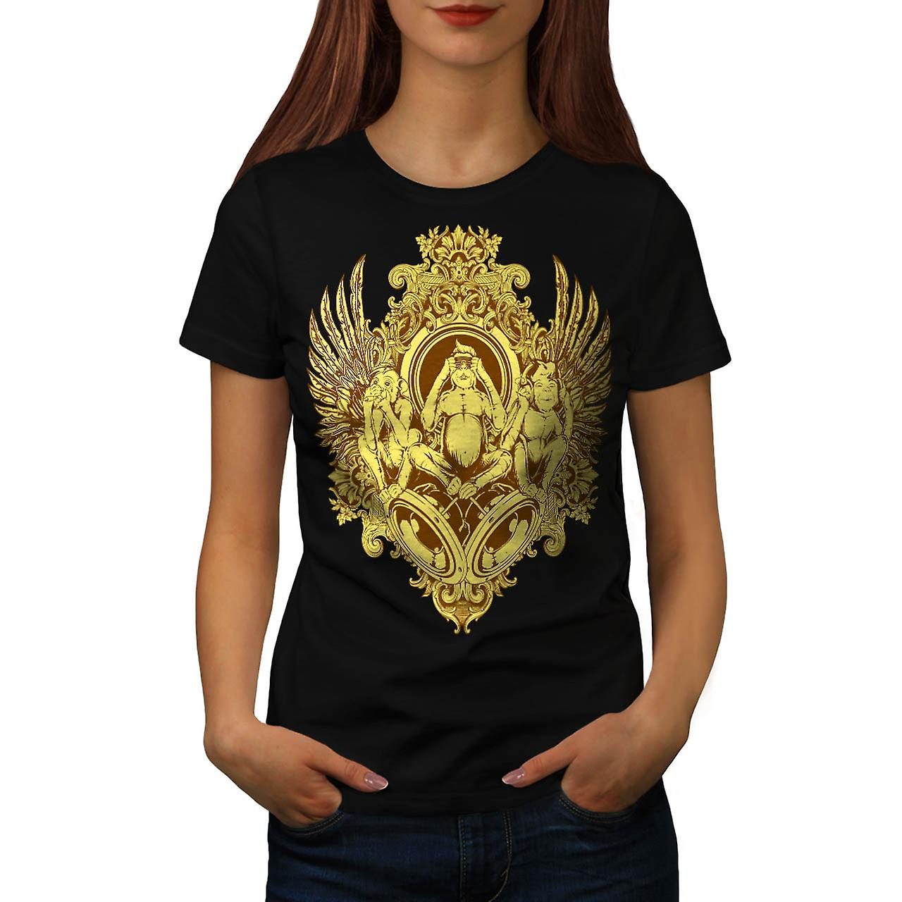 Mystical Beast Vintage Women Black T-shirt | Wellcoda