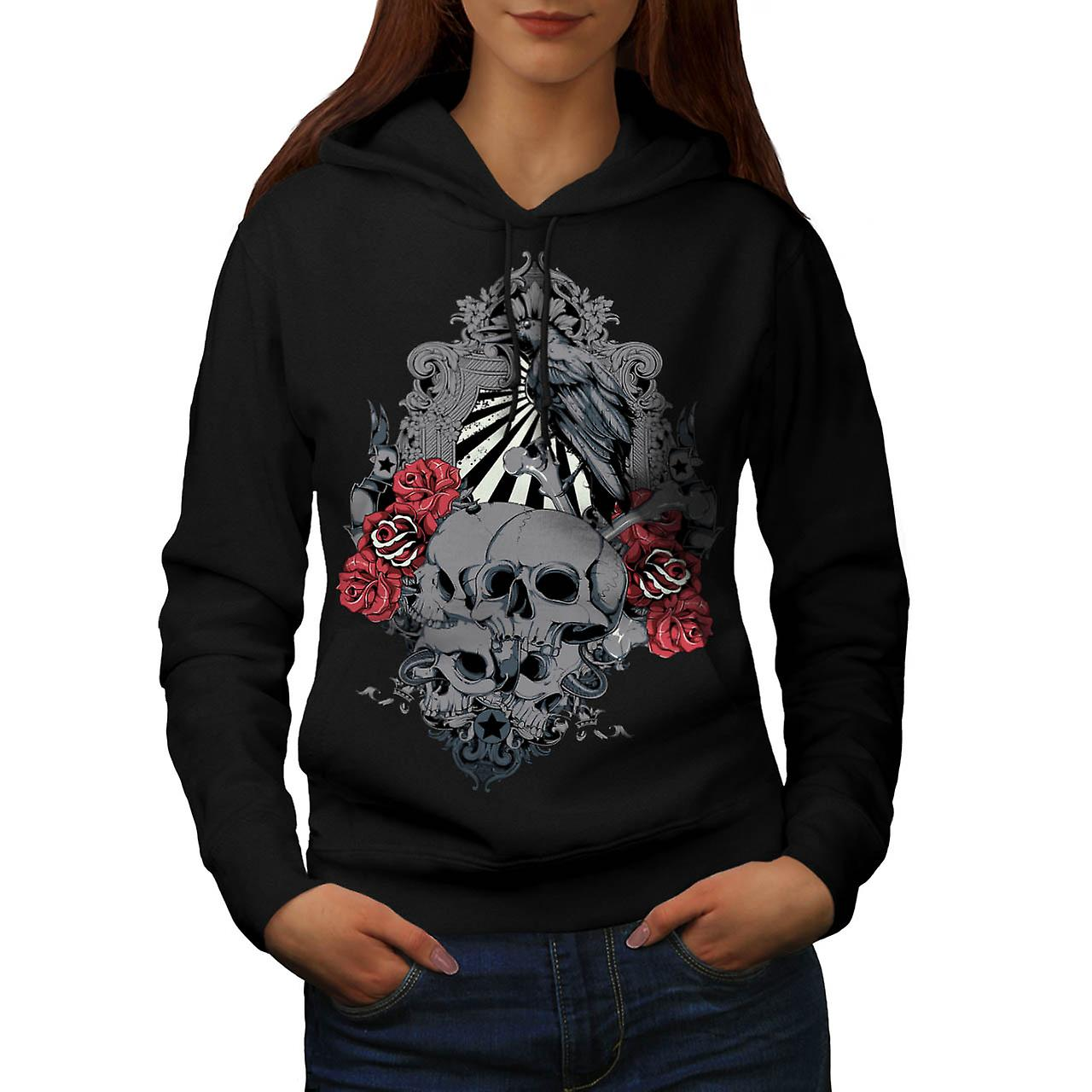 Death Skull Cemetery Burial Land Women Black Hoodie | Wellcoda