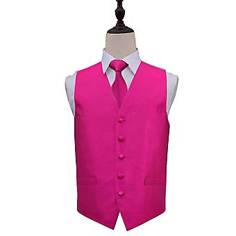 Solid Check Fuchsia Pink bryllup vest & Tie sæt