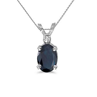 10k White Gold Oval Sapphire And Diamond Pendant with 16
