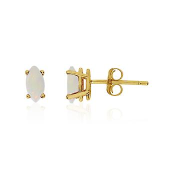 14k Yellow Gold Opal Marquise Earrings