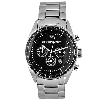 Emporio Armani AR0585 Silver Stainless Steel Strap Black Dial Sport Chronograph Watch