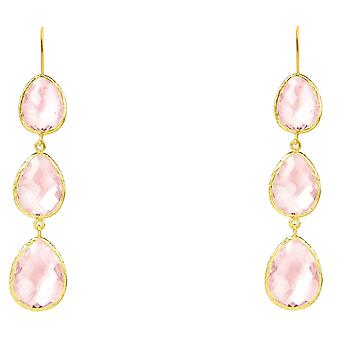 925 Sterling Silver Long Dangle Drop Earrings Gold Pink Rose Quartz Hook Crystal