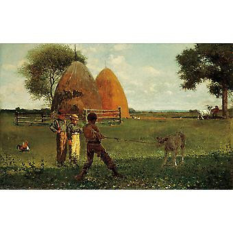 Winslow Homer - Weaning the Calf (1875) Poster Print Giclee