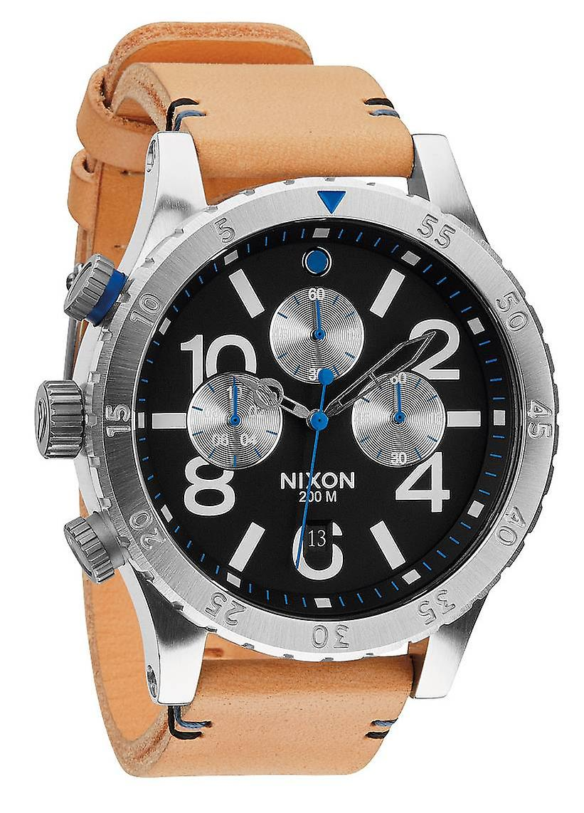Nixon The 48-20 Chrono Leather Watch - Natural/Black