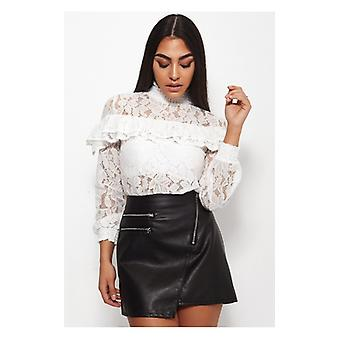 The Fashion Bible Kelis White Lace Frill Blouse