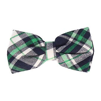 Andrews & co. fly bounded loop bow tie grotesque Plaid Navy Blue Green White