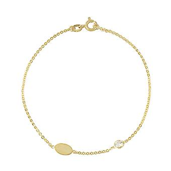 9ct 375 Gold Womens Ladies Oval Disc Charm Fine Delicate Chain Bracelet with Premium Swarovski Cubic Zirconia Stone