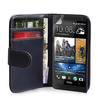 HTC en läder-effekt plånbok väska - svart