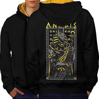 Anubis Old God Fashion Men Black (Gold Hood) Contrast Hoodie Back | Wellcoda