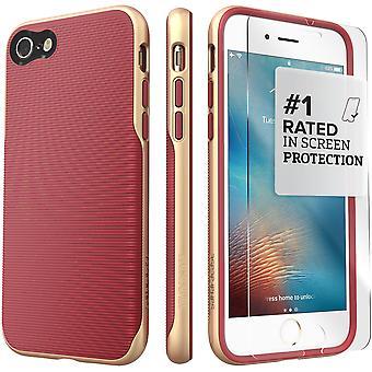 SaharaCase® iPhone 8 y 7 caja oro Saffon, tendencia protectora Kit paquete con ZeroDamage® vidrio templado