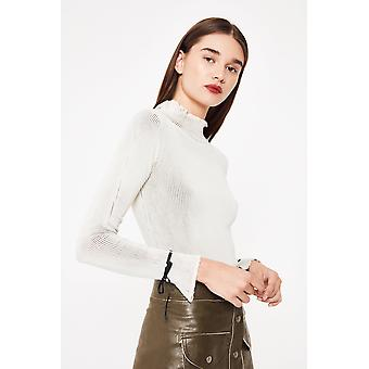 Kubisk ribbad Turtle Neck Top