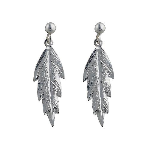 Silver 29x8mm embossed Leaf Earring Droppers