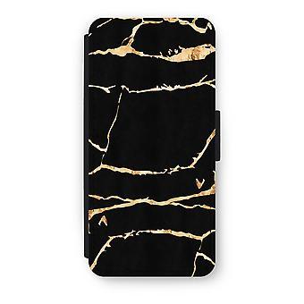 iPhone 5/5S/SE Flip Case - Gold marble