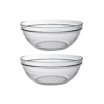 Duralex Set of 2 Lys Round Stacking Bowl, 20.5cm