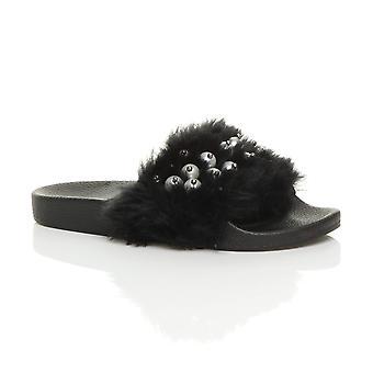 Ajvani womens flat fur mules open toe comfy comfort slip on flip flop sliders slippers sandals