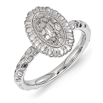 2.5mm Sterling Silver Polished Stackable Expressions Rhodium-plated Oval Ring - Ring Size: 5 to 10