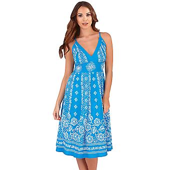 Martildo, Womens Crossover Band Summer Holiday Short Dress with Straps, Cayman Isles Blue