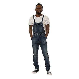 Mens Dungarees with Detachable Bib Stonewash Denim Bib Overalls Narrow Leg