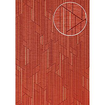 Graphic wallpaper ATLAS XPL-565-2 non-woven wallpaper structures with geometric forms shimmering red Strawberry Red Ruby red gold 5.33 m2