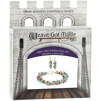 Chainmaille Bracelet & Earrings Jewelry Kit-Girls Just Wanna Have Fun/Multi