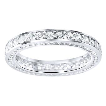 Sterling 925 Silver pave ring - eternity cubic zirconia band