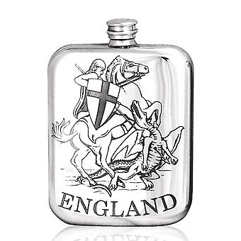 English St. George & The Dragon Pewter Hip Flask - 6oz