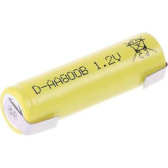 Mexcel -AA800B Non-standard battery (rechargeable) AA U solder tab, Flat top NiCd 1.2 V 800 mAh