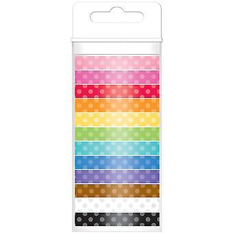 Doodlebug Monochromatic Washi Tape 8mmx12yds 12/Pkg-Polka Dot