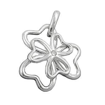 Zilveren glanzende hanger klaver cubic zirconia 925 sterling zilver