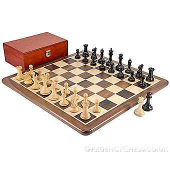 Sovereign Ebony and Walnut Chess Set with Rootwood Case