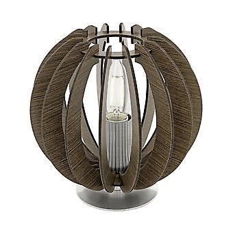 EGLO Cossano 185mm petit chevet Zen Style lampe, bois brun foncé